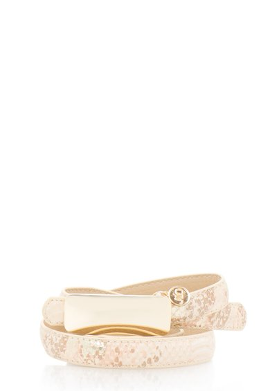 FashionDays.ro: Curea bej cu auriu cu model sarpe JLo by Jennifer Lopez