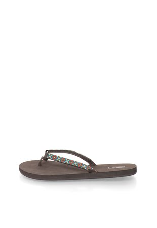 Papuci flip-flop maro cu model etnic