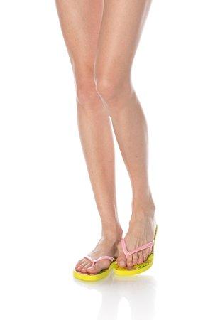 Papuci flip-flop roz si galben cu imprimeu tropical