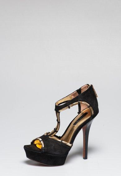 FashionDays.ro: Sandale negre din piele intoarsa Debbi Rachel Zoe